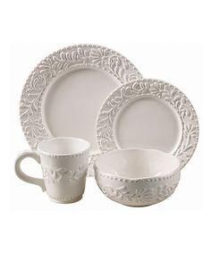 Look what I found on #zulily! Bianca Leaf Round 16-Piece Dinnerware Set #zulilyfinds