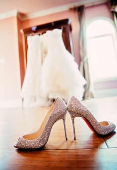 Strass Christian Louboutins and two @Anjolique Bridal & Formal Bridal gowns! perfect combination!  Very traditional lace gown for the ceremony and a fun trumpet dress for the reception!