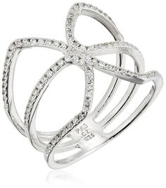 Rhodium Plated Sterling Silver White Cubic Zirconia Hollow Ring
