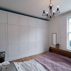 Master bedroom with black chandelier and white fitted wardrobes Large Living Room Furniture, Fitted Bedroom Furniture, Fitted Bedrooms, Wardrobe Furniture, Kitchen Furniture, Small Bedroom Wardrobe, Home Bedroom, Master Bedroom, Bedroom Ideas