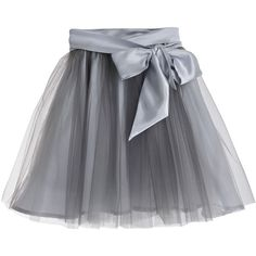 Little Wardrobe London - Fairytale Tulle Skirt with Satin Sash Silver (560 RON) ❤ liked on Polyvore featuring skirts, mid calf skirts, knee length tulle skirt, midi skirt, silver satin skirt and calf length skirts