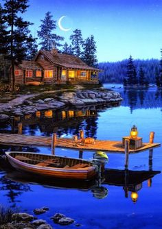 Cabin wall art with LED lights that light up the stars, cabin, and lantern! Enjoy this Lighted Canvas Art when the lights are out in your cabin! Our collection of lighted canvas art have long lasting Kinkade Paintings, 300 Piece Puzzles, Cabin Lighting, Lighted Canvas, National Art, Lake Cabins, Thomas Kinkade, Arte Popular, Cross Paintings
