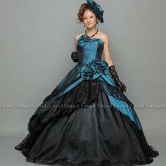 Amazon.co.jp: カラードレス ネイビーグリーンとブラックのシンプルクールなプリンセスライン ウエディングドレス お色直しドレス 披露宴: 服&ファッション小物