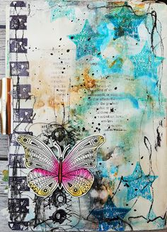 * Rubber Dance Blog *: Grungy Art Journal Page with Butterfly - Video Tutorial