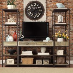 Sadie Industrial Rustic Open Shelf Media Console with Two Towers - Overstock™ Shopping - Great Deals on Entertainment Centers