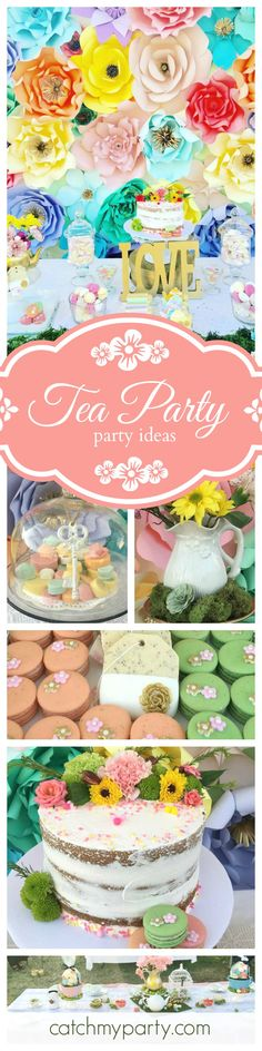 This Garden Tea Party is just so pretty! The floral paper backdrop is gorgeous and just look at the naked cake. Love it!