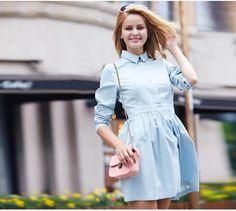 a0cbedb5c4f Veri Gude Autumn Dress Full Sleeve Denim Dress for Women Hidden Buttons Fit  and Flare