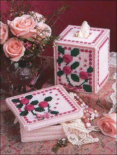 plastic canvas rose tissue box