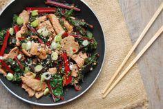 How to Cook Everything: The Basics: Pork Stir-Fry with Greens - Mark Bittman (I do love Mr. Bittman)