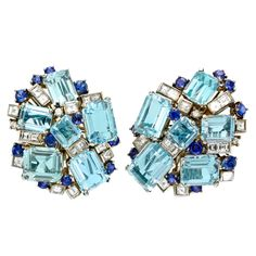 Aquamarine, Sapphire and Diamond Cluster Earrings | From a unique collection of vintage clip-on earrings at http://www.1stdibs.com/jewelry/earrings/clip-on-earrings/