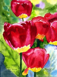 Tulips Original Watercolor Print Back Lit Red by CynthiaVHEhrlich, $24.95