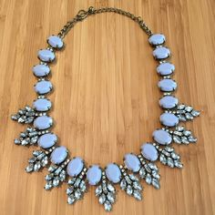 Bauble Bar Ice Blue Statement Necklace This is a gorgeous icy blue statement necklace from Bauble Bar, with crystal accent stones. Adjustable lobster claw clasp. ***My Closet Rules: no trades, no Paypal, no offline transactions*** Thanks for looking! Bauble Bar Jewelry Necklaces