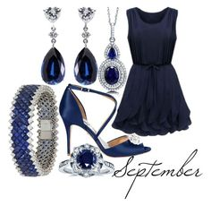 """Sapphire"" by elli-jane-xox ❤ liked on Polyvore featuring Kobelli, CARAT*, BERRICLE and Badgley Mischka"