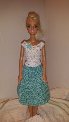 Crochet Barbie Clothes, Fashion Doll Skirt and Top, Barbie Doll Outfit by GrandmasGalleria on Etsy