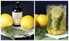 Do it yourself home fragrances.  Rosemary, Lemon and Vanilla Extract simmered on the stove.