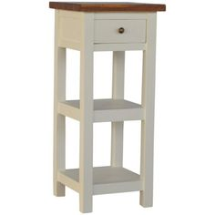 This Mango Hill 2 Toned Telephone Table with 1 Drawer & 2 Shelves has a white hand spray painted base with a rich honey finish top. Contemporary Dining Room Furniture, Contemporary Side Tables, Modern Side Table, Furniture Makeover, Furniture Decor, Living Room Furniture, Furniture Design, Country Furniture, White Table Lamp