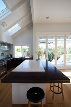 Von Sturmer - Existing kitchen revamped to include timber seating to small marble island Marble Island, Kitchen Island, Kitchens, Design, Home Decor, Island Kitchen, Homemade Home Decor, Kitchen, Home Kitchens