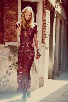 crochet dresses | Outstanding Crochet: Free People. Crochet Maxi Dress.