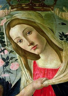 Sandro Botticelli - Madonna and Child Crowned Angels, detail of the Madonna
