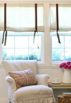 Drop cloth window shades - Someone over here might be obsessed with drop cloths Nope, not for protecting floors and catching paint drips. at this point in the. Drop Cloth Curtains, Window Coverings, Window Treatments, Shabby, French Country Cottage, Design Blog, Upholstered Furniture, Stores, Country Decor