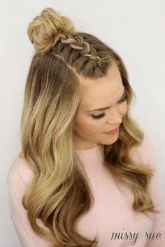 wedding hairstyles easy hairstyles hairstyles for school hairstyles diy hairstyles for round faces p Braided Top Knots, Top Knot With Braid, Braided Buns, Half Top Knot, Twisted Braid, Knotted Braid, Double Braid, Lace Braid, Diy Hairstyles