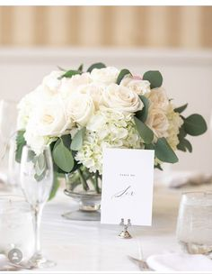 white hydrangeas and white roses with the matching greenery (likes the bridesmaids flowers for greenery). wrap vases with leaves. White Hydrangea Centerpieces, White Floral Arrangements, Peonies Centerpiece, White Centerpiece, Small Centerpieces, White Hydrangeas, Centerpiece Wedding, Small White Flowers, White Roses