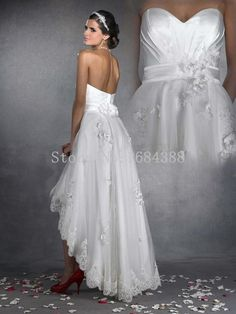 2015 Sexy High/Low Ankle Length Sweetheart Tulle With Lace Wedding Dresses Bridal Gown…