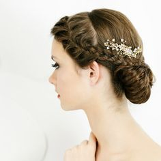hairstyle -- Bridal Hair Comb in Gold  Wedding Hair by LavenderByJurgita