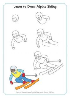 Learn to Draw Alpine Skiing: Winter Olympic Crafts for Kids. Art Drawings For Kids, Art For Kids, Olympic Crafts, Sport Craft, Thinking Day, Colouring Pages, Coloring, Camping Crafts, Step By Step Drawing