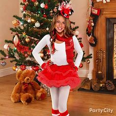 Caroling with BFFs? Club Christmas party or fundraiser? She'll love this absorbs outfit! Click the pic for super-cute Christmas costume ideas for kids and tweens.