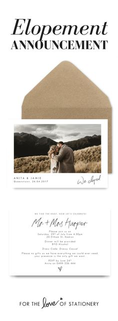We Eloped!   Elopement Announcement   DIY Elopement Invitation Printable   Dawn Thomson Photography   For the Love of Stationery