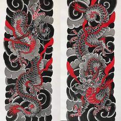 Japanese Dragon Tattoos, Japanese Tattoo Art, Japanese Tattoo Designs, Japanese Sleeve Tattoos, Red Tattoos, Body Art Tattoos, Arabic Tattoos, Mystical Tattoos, Traditional Tattoo Art