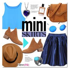 """LoveNewChic #4"" by alexandrazeres ❤ liked on Polyvore featuring Blue, brown, miniskirts and newchic"