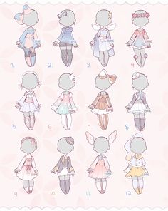 Set Price Outfits 3 (Closed) by Lyime on DeviantArt Anime Drawings Sketches, Kawaii Drawings, Cute Drawings, Outfit Drawings, Cartoon Outfits, Anime Outfits, Mode Outfits, Manga Clothes, Drawing Anime Clothes