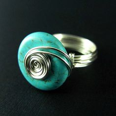 Turquoise Wire Wrapped Ring Nickel Free Silver by PolymerPlayin