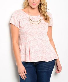 78d4cf331a9 Loving this Peach  amp  White Floral Peplum Top - Plus on  zulily!