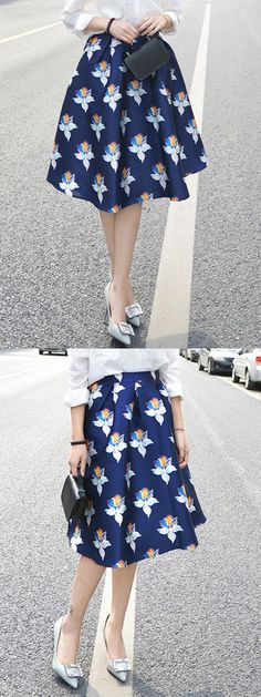 Navy High Waist Floral Midi A-line Skirt