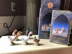 Fontanini-Nativity-5-034-Bethlehem-Birds-amp-White-Sheep-in-orig-box-card Fontanini Nativity, Bethlehem, Sheep, Birds, Box, Painting, Snare Drum, Painting Art, Bird