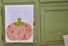 micro-fiber kitchen towel with a pumpkin, perfect for fall.  Made by @Cha Cha @The Heartfelt Home