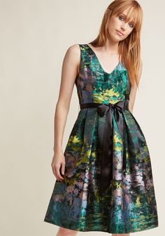 Jacquard Fit and Flare Dress with Pockets in Landscape in XXS - Sleeveless Fit & Flare Midi