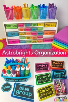 5 Tips for Using Astrobrights in Your Classroom- Using Astrobrights is a great way to add color to your classroom decor! It also helps you save money by not using colored ink. Perfect for teacher organization! Classroom Decor Themes, Classroom Organisation, New Classroom, Teacher Organization, Classroom Setup, Classroom Design, Preschool Classroom, Teacher Hacks, Teacher Binder