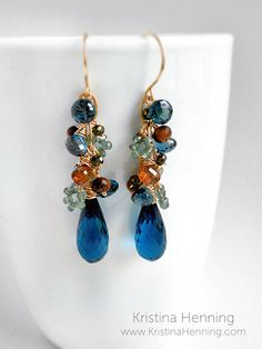 Mila Earrings with london blue topaz, green sapphire, and gold – Kristina Henning Jewelry