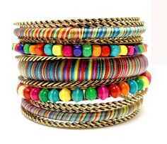 Aliexpress.com : Buy Multicolor Wooden Beads Bracelets & Bangles Bohemian Bangle Set Pulseira De Couro Vintage Indian Jewelry from Reliable beads on a string suppliers on Season Color Wholesale Jewelry | Alibaba Group