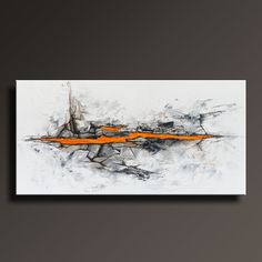 48+ORIGINAL+ABSTRACT+Painting+Black+White+Gray+Orange+by+itarts