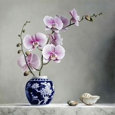 Still Life by Pieter Wagemans - Oil Painting Flowers, Watercolor Flowers, Flowers Nature, Exotic Flowers, Art Floral, Flower Vases, Flower Art, Ikebana, Orchid Drawing
