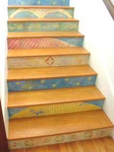 Hand-painted Stair Risers - Eclectic - Staircase - Los Angeles - Fine Art & Portraits by Laurel Painted Stair Risers, Painted Staircases, Painted Floors, Painted Furniture, Stair Steps, Stair Treads, Take The Stairs, Modern Home Furniture, Stair Decor