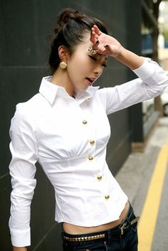 Woman Summer Clothing,Lady Elegant White Shirt,Drop Shipping,New&Cheap Fashion T Days Pcs/Lot Cheap Fashion, Fashion Outfits, Classic White Shirt, Beautiful Blouses, Diy Clothes, Blouse Designs, Blouses For Women, Summer Outfits, Shirts
