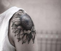 Shoulder Sunflower Tattoo by Melek Taştekin  #tattoo #tattoos…