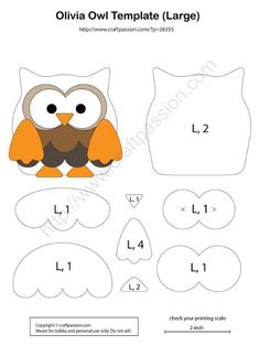 48 Ideas Baby Diy Sewing Quiet Books For 2019 Felt Animal Patterns, Felt Crafts Patterns, Quiet Book Patterns, Owl Patterns, Applique Patterns, Stuffed Animal Patterns, Stuffed Animals, Owl Crafts, Baby Crafts