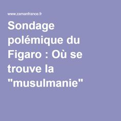"""Sondage polémique du Figaro : Où se trouve la """"musulmanie"""" ?"""
